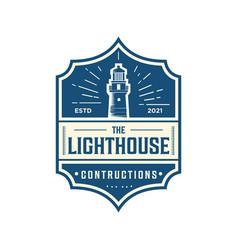 Luxury retro logo lighthouse vector