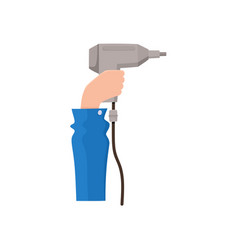 male hand holding electric drill flat style icon vector image