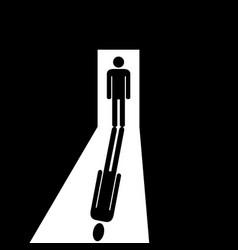 Man in the doorway going to the light vector