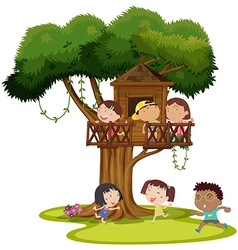 Many kids playing in the treehouse vector image