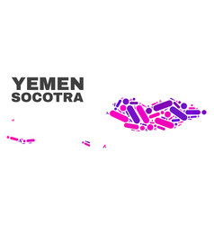 Mosaic socotra archipelago map of dots and lines vector