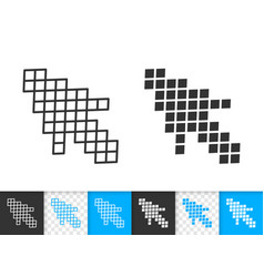 mouse cursor simple black line icon vector image