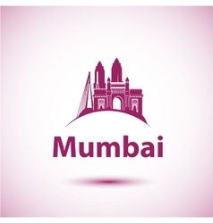 Mumbai India skyline silhouette black vector image