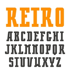 Narrow slab serif font in retro style vector