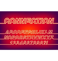 Neon Connection One Line Font vector