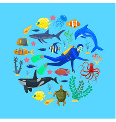 ocean animals and diver vector image