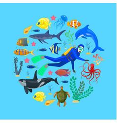 Ocean animals and diver vector