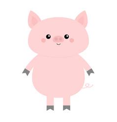 pig cute cartoon funny bacharacter hog swine vector image