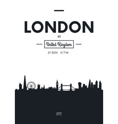 Poster city skyline london flat style vector