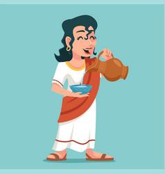 Pour drink jug bowl woman roman female greek vector