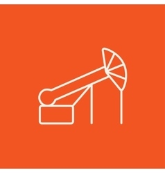 Pump jack oil crane line icon vector image