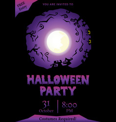 Purple halloween party circle silhouette greeting vector