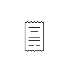 receipt paper thin line icon linear vector image