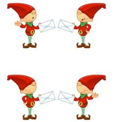Red Elf Holding Letter vector