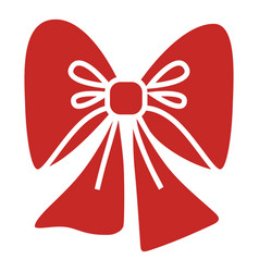 red xmas bow icon simple style vector image