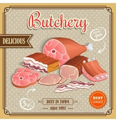 Retro meat poster vector image
