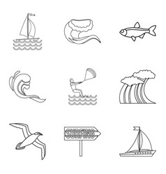 Riverside icons set outline style vector