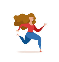 Running girl in cute colorful vector