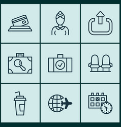 Set 9 airport icons includes appointment vector