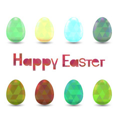 Set of easter eggs with polygonal ornament vector