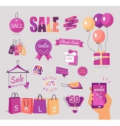 Set of Sale Flat Stickers Tags Concepts vector image