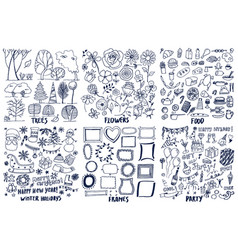 Set of trees flowers food party frame patterns vector