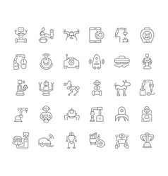 set simple icons robots vector image