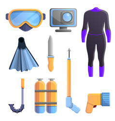 Snorkeling equipment icons set cartoon style vector
