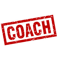 Square grunge red coach stamp vector