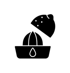 Squeeze lemon black glyph icon vector