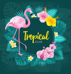 summer tropical round frame design vector image
