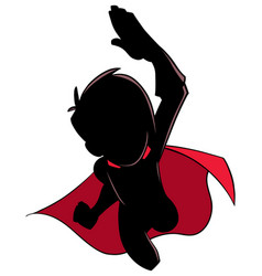 Super boy flying silhouette vector