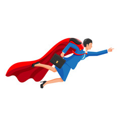 superhero businesswoman flying in sky vector image