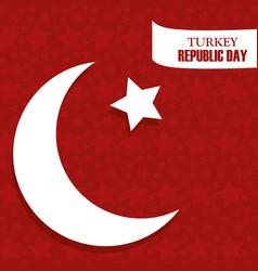 Turkey republic day background flag half moon vector