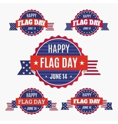 USA Flag day badges set vector image