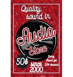 Vintage audio store poster vector