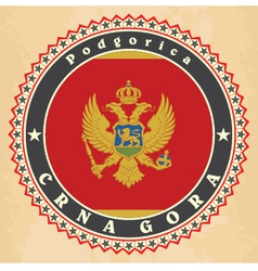 Vintage label cards of Montenegro flag vector