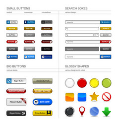 web design button element a set buttons box vector image