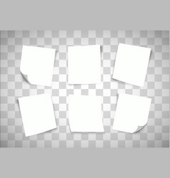 White paper notes on transparent background post vector