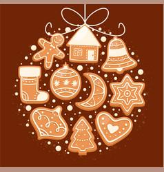 winter gingerbread cookies vector image
