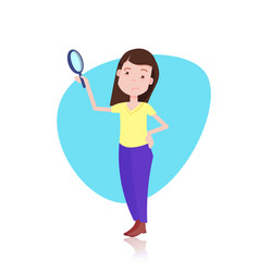 Woman character holding zoom magnifying glass vector