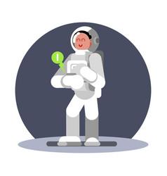 Woman cosmonauts hand computer vector