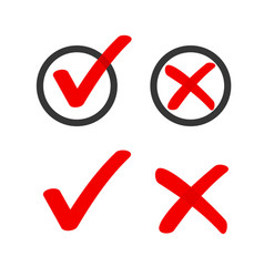 Yes no check box list marker ticks icons vector