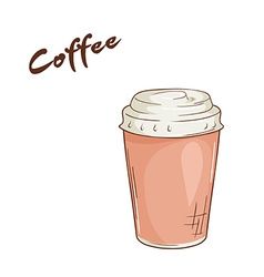 an isolated cartoon hand drawn fast food Coffee in vector image vector image