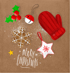 christmas elements glove craft vector image vector image