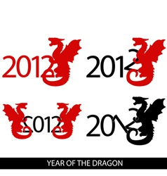 image of 4 variations with year 2012 and dragon vector image vector image