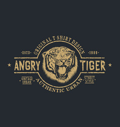retro label with angry tiger vector image vector image