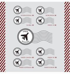 shipping and air transport service stamps set vector image vector image