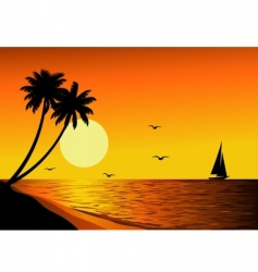 beach sunset vector image