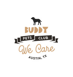 buddy pet club logo template pet silhouette vector image